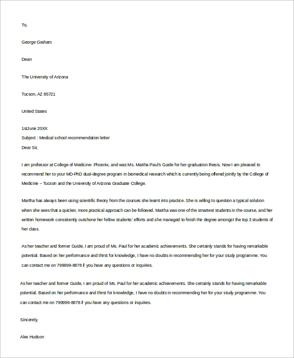 letter of recommendation medical school 9 recommendation letter examples sample templates 23054