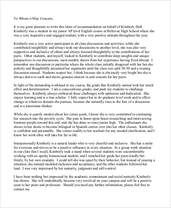 letter of recommendation thesis supervisor Here's how this letter would turn out if i were writing a recommendation for joe, a hypothetical sales employee i'd previously managed dear mrs smith, it's my absolute pleasure to recommend joe adams for the sales manager position with the sales company.