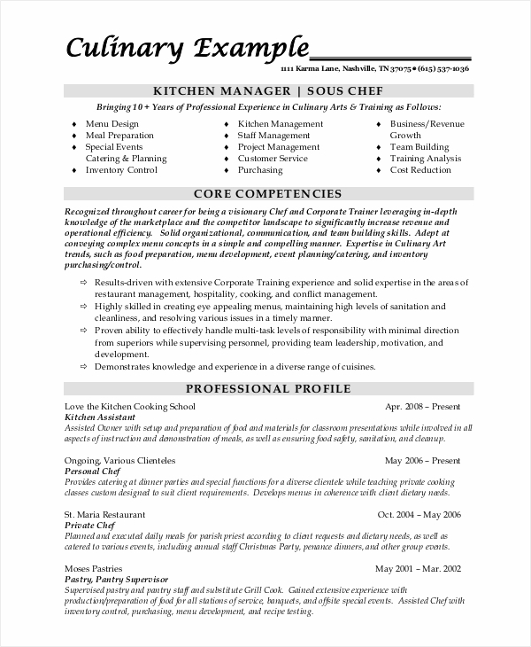 Sample Chef Resume   Examples In Word Pdf