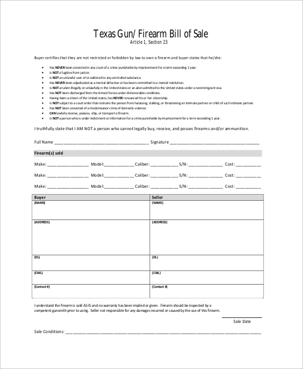 Sample Gun Bill Of Sale - 8+ Examples In Pdf, Word