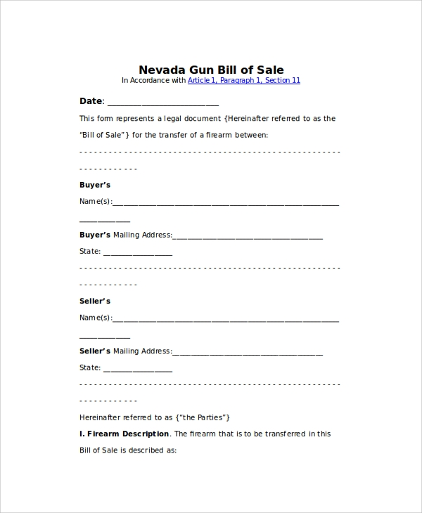 Blank Gun Bill Of Sale Format
