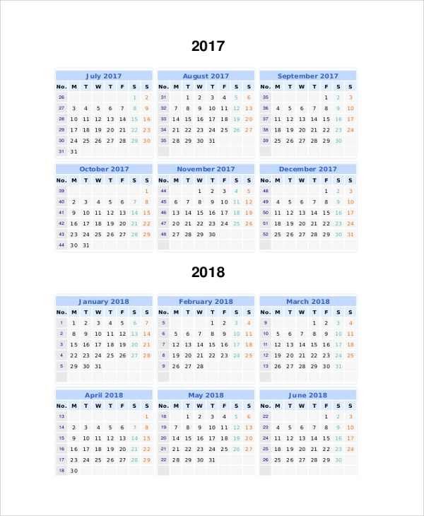 printable 2017 2018 split year calendar