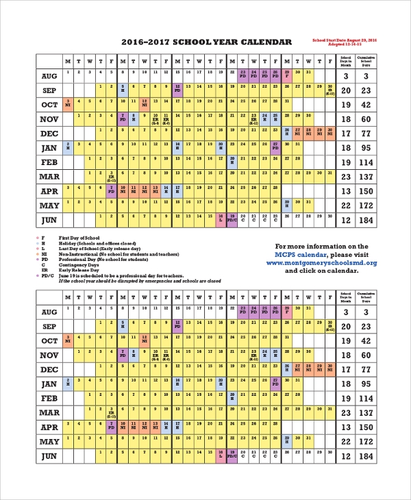 printable 2016 2017 school calendar