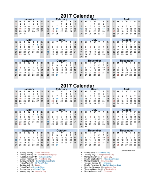 2017 yearly holidays calendar printable