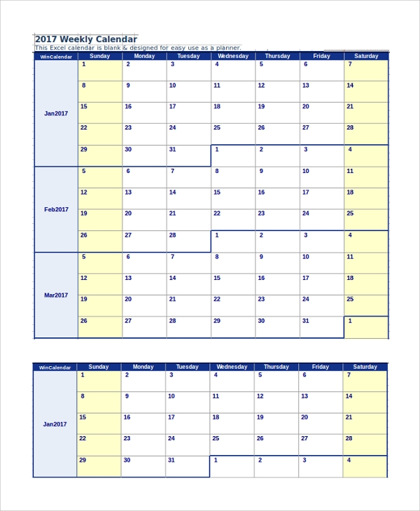 2017 weekly calendar printable example