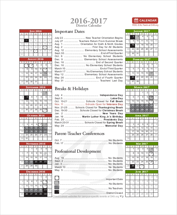 2016 2017 district calendar printable
