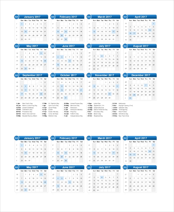 printable 2017 calendar with us holidays