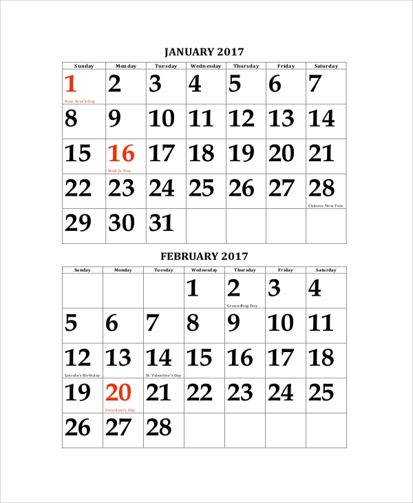 2017 new year calendar printable format