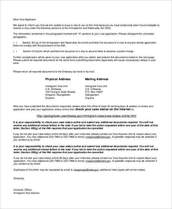 Sample Visa Refusal Letter  Letter Of Appeal Sample