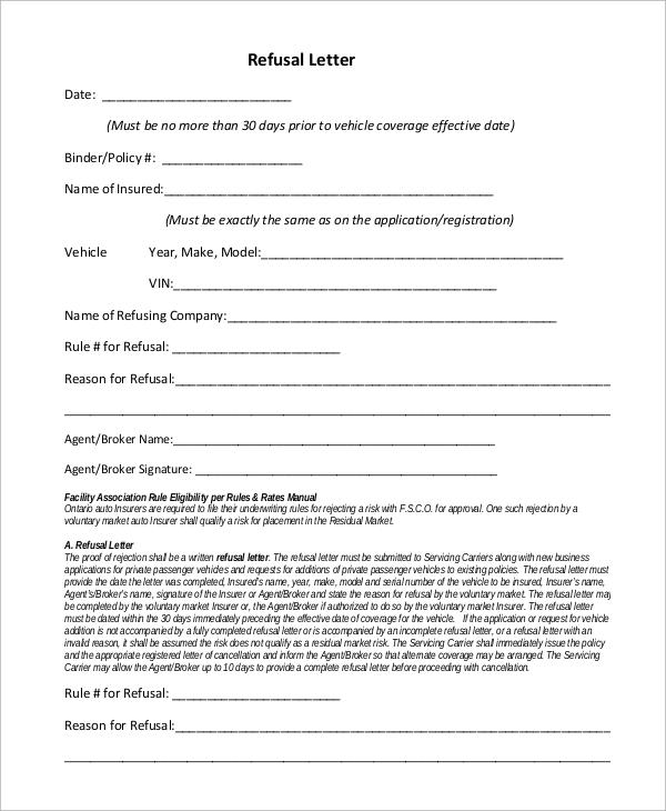refusal letter format