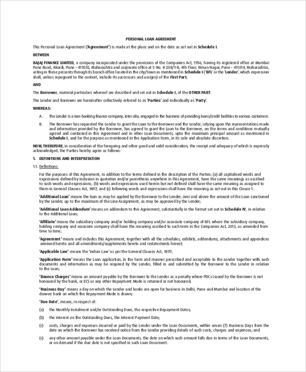 Sample Loan Agreement - 8+ Examples In Pdf, Word