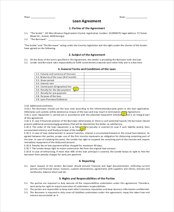loan agreement between both parties