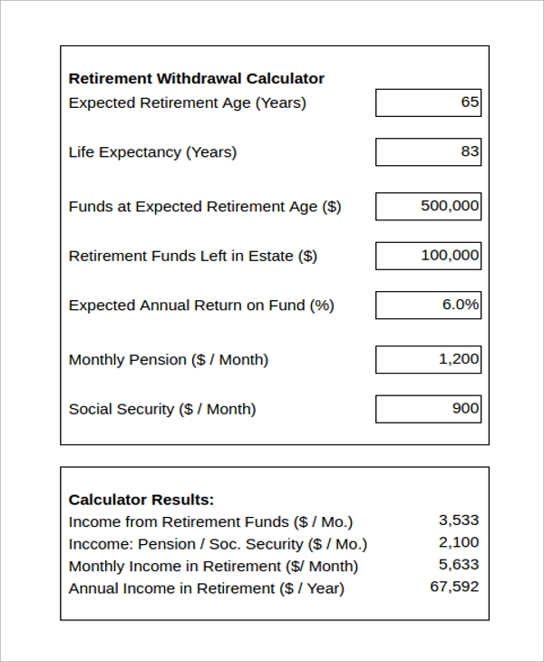 Sample Retirement Withdrawal Calculator - 6+ Examples In Excel