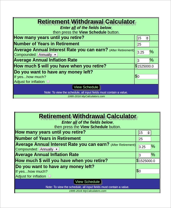 retirement assumption withdrawal calculator