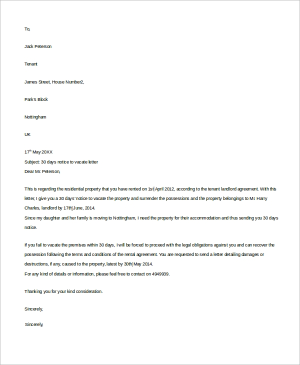 30 day notice letter to landlord
