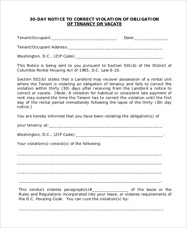 landlord obligation 30 day notice