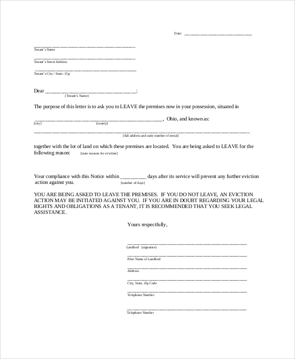 landlord 30 day request notice