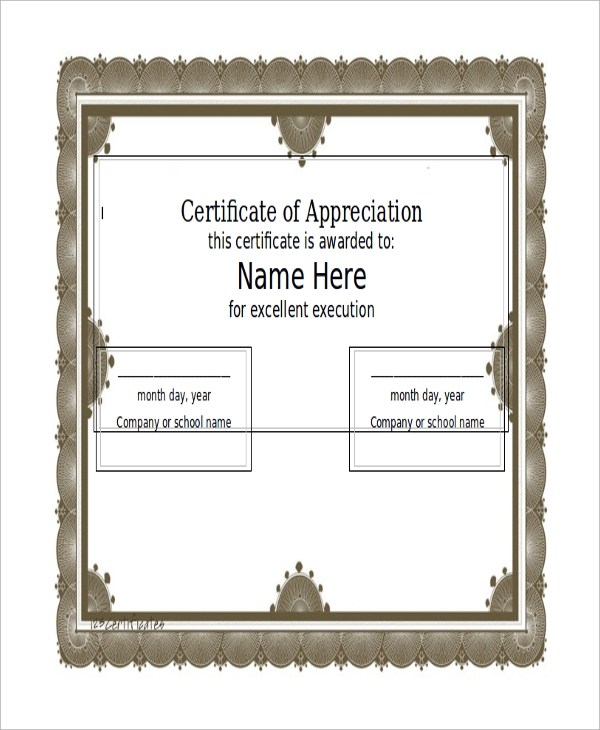 certificate of appreciation word