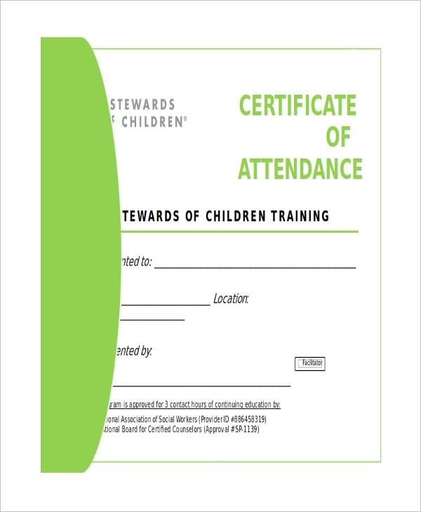 certificate of attendance word