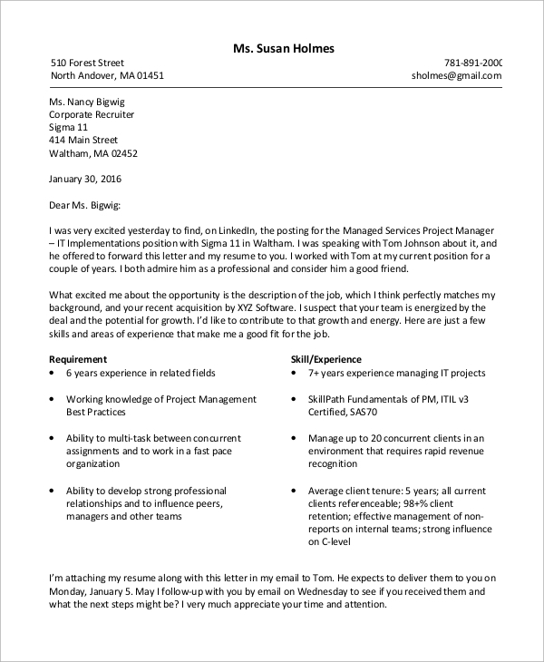 Sample Resume Cover Letter 8 Examples in Word PDF – Manager Resume Cover Letter