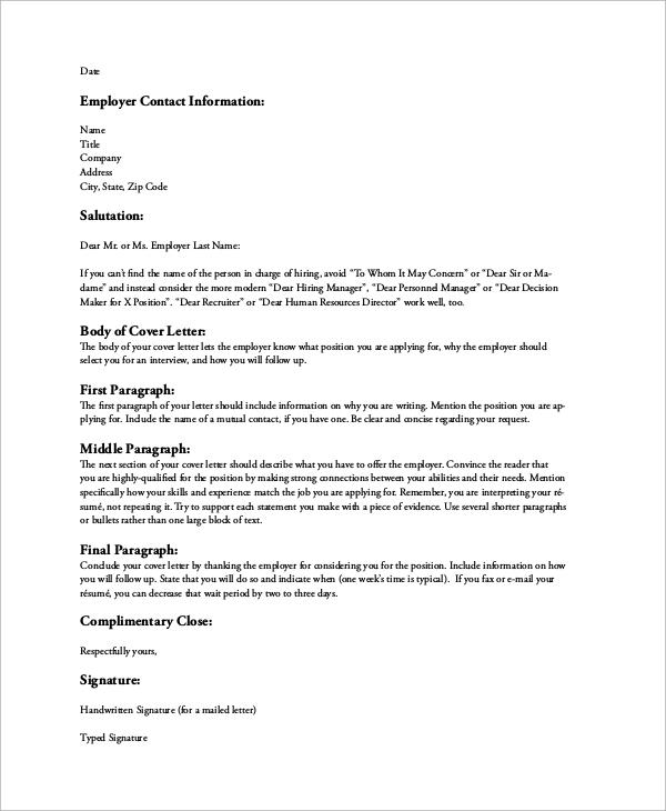 Sample Resume Cover Letter   Examples In Word Pdf