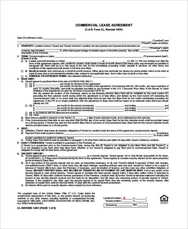 Sample Commercial Lease   Examples In Word Pdf
