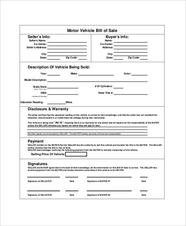 Blank Motor Vehicle Bill Of Sale Sample