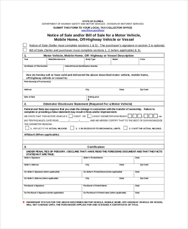 blank notice of sale bill of sale