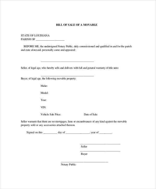 Sample Blank Bill Of Sale   Examples In Pdf Word