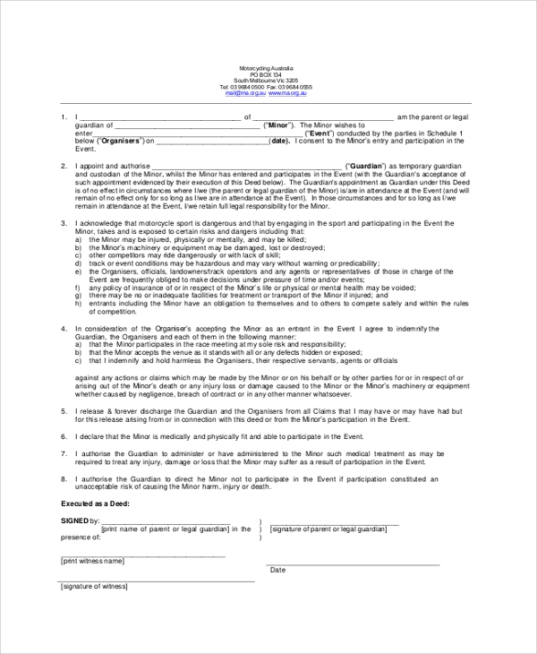 parent or legal guardianship form