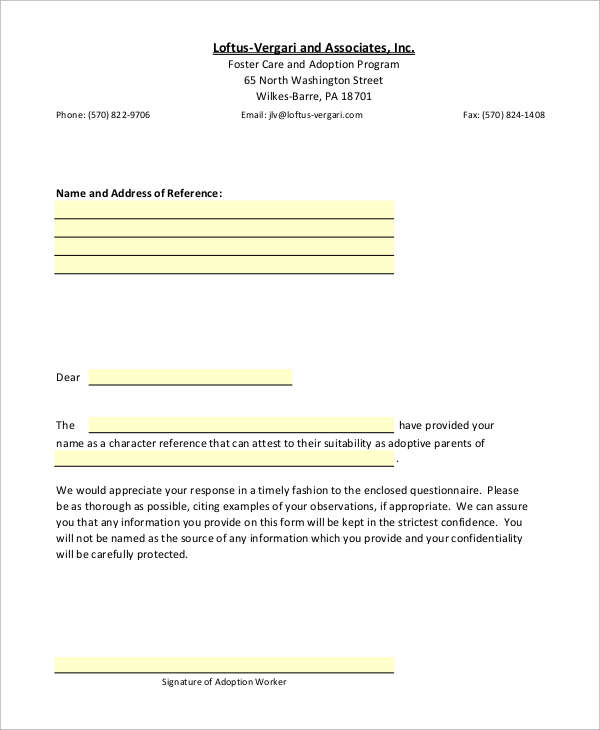 8 recommendation letter samples sample templates for Letter of recommendation for adoption template
