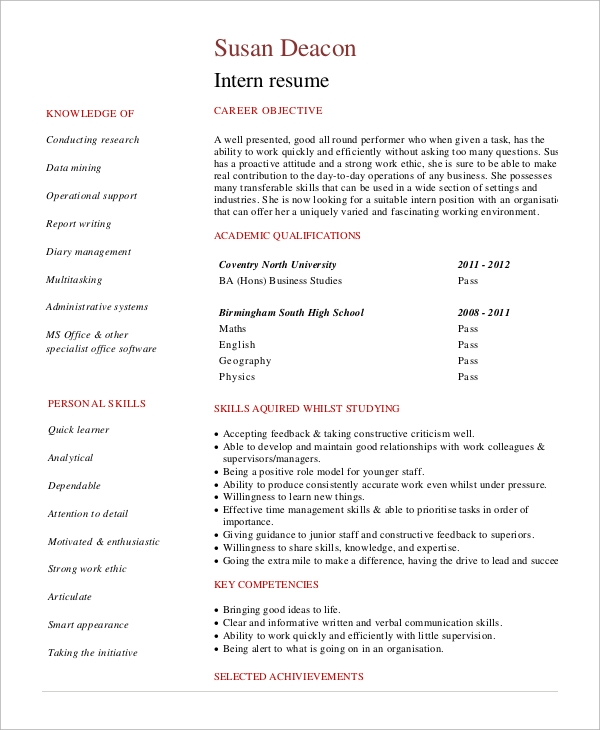 Sample Internship Resume   Examples In Word Pdf