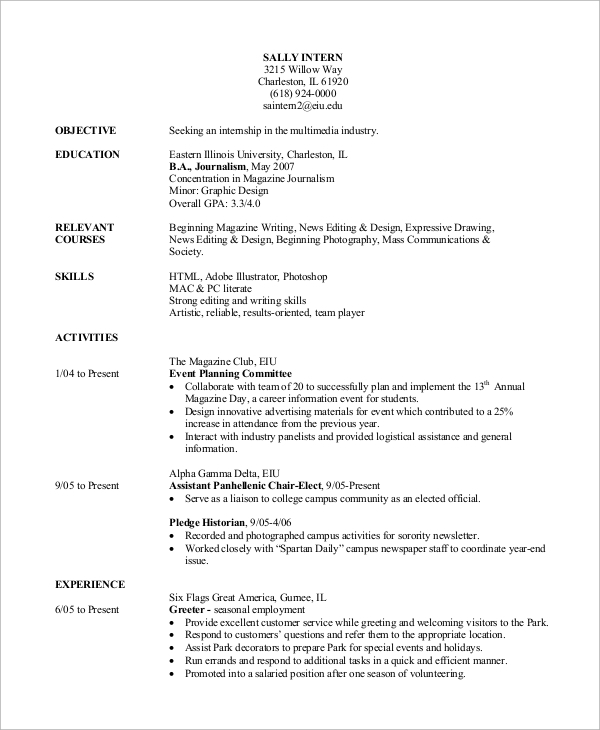 sample internship resume 7 examples in word pdf