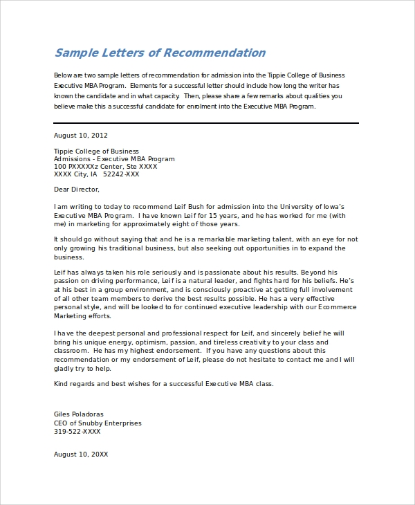 Letter of Recommendation For College Student