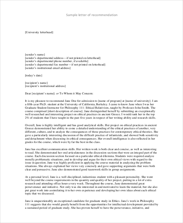 7 college recommendation letter samples sample templates