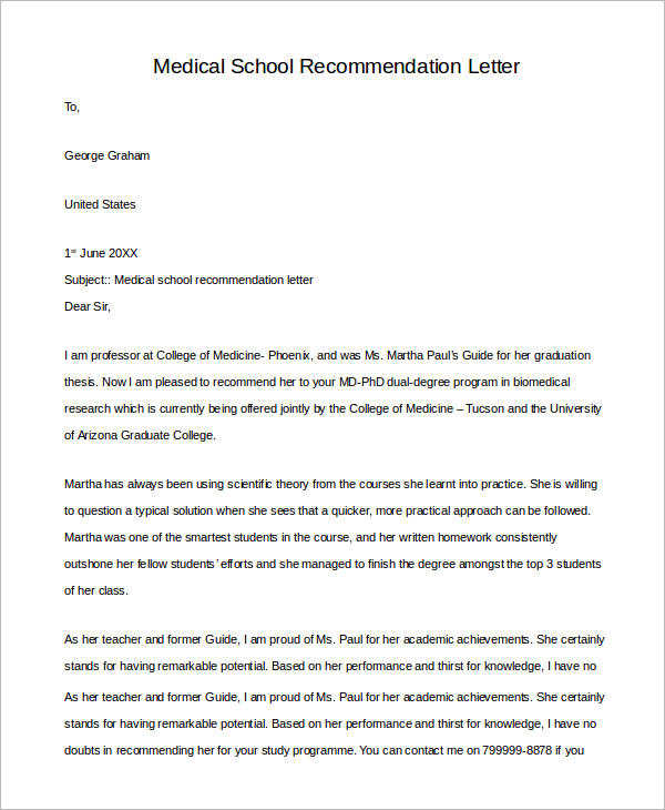 Example Of Letter Of Recommendation   Samples In Pdf Word
