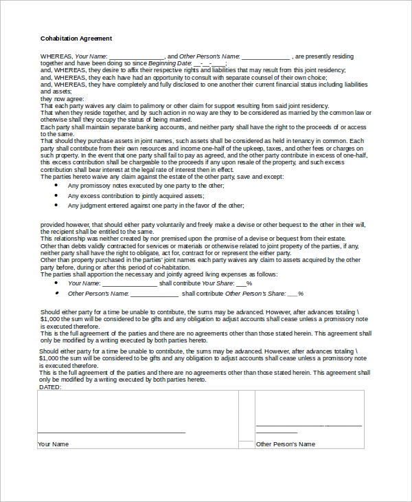 Sample Cohabitation Agreement 8 Examples in Word PDF – Sample Cohabitation Agreement Template