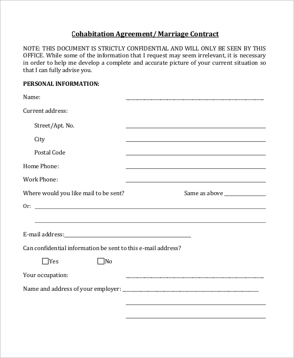 8 Sample Cohabitation Agreements Pdf Doc Sample Templates