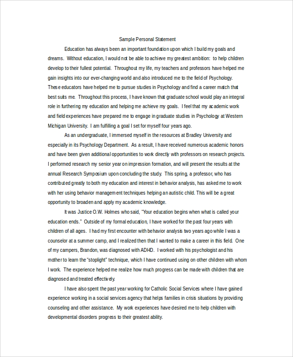 Sample Personal Statement For Graduate School   Examples In Word Pdf
