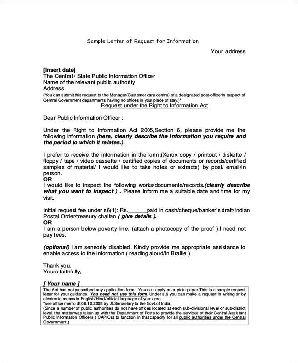 letter of request for information