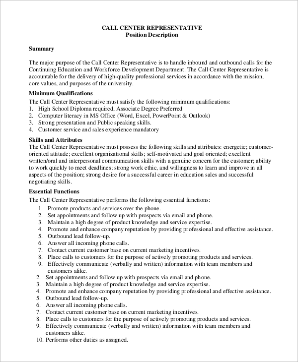 Sample Call Center Job Description - 9+ Examples in PDF