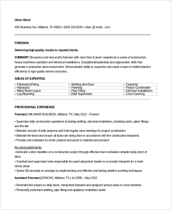 9 sample electrician resumes sample templates electrician foreman resume altavistaventures Images