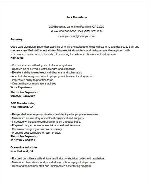 sample electrician resume