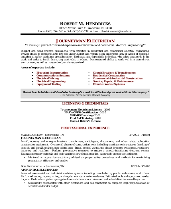 journeyman electrician resume