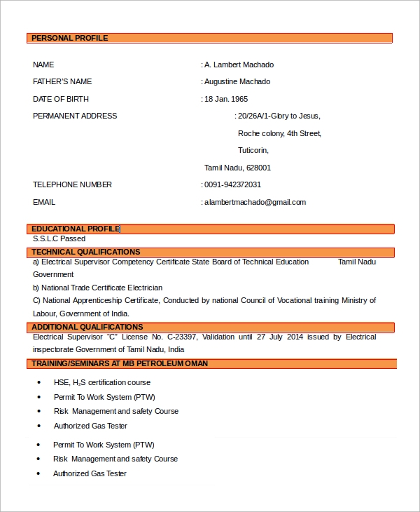 chief electrician resume