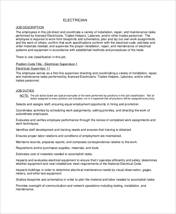 free 9  sample electrician resume templates in ms word