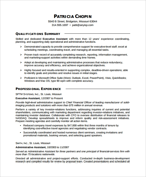 Sample Executive Assistant Resume   Examples In Word Pdf