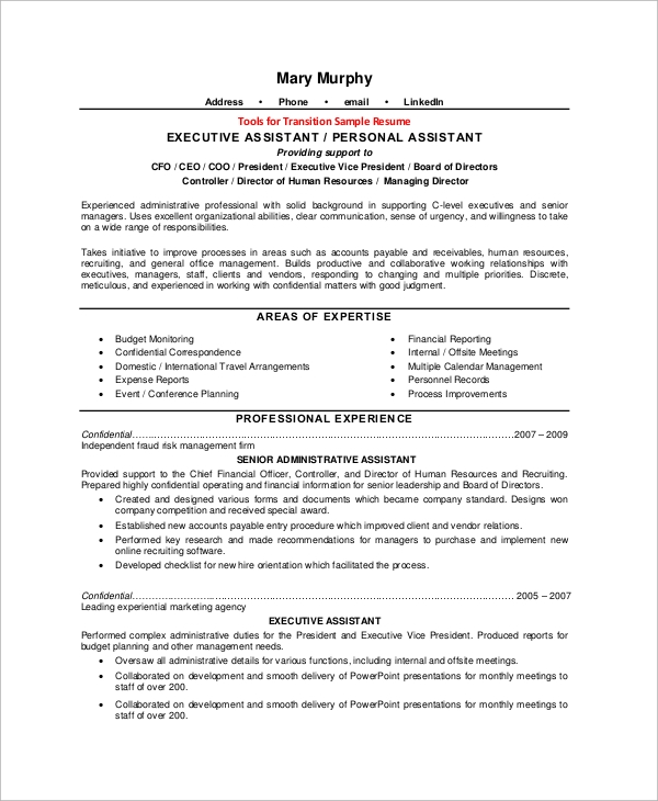 c level executive assistant resume - Sample Resume For Executive Assistant