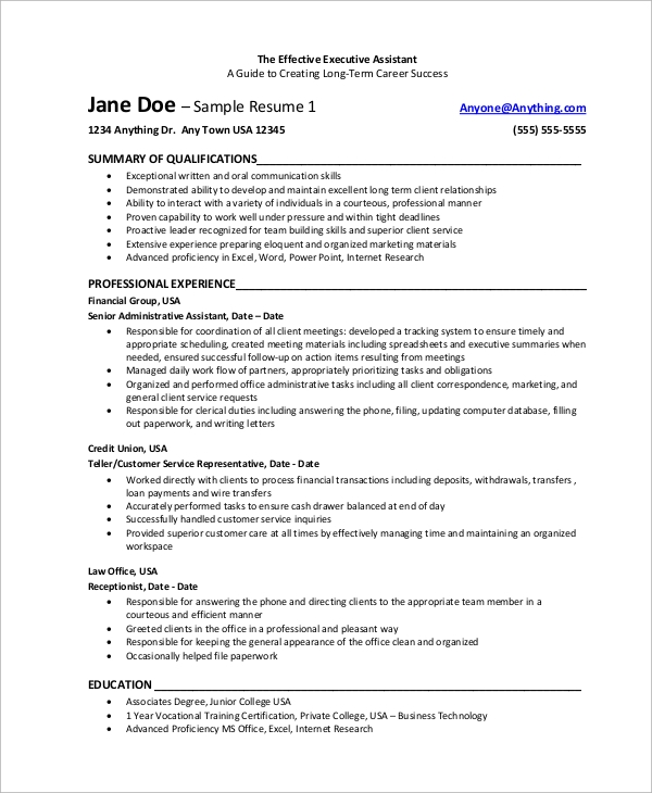 sle executive assistant resume 8 exles in word pdf