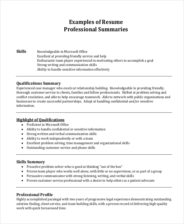 Resume Professional Summary Example  Good Professional Summary Examples